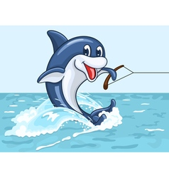 Smiling dolphin rides on his tail as on water skis vector