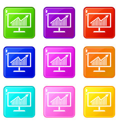 statistics on monitor set 9 vector image