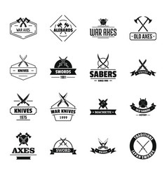 Steel arms logo icons set simple style vector