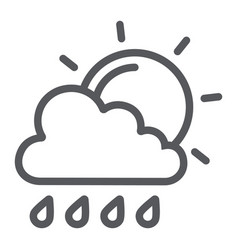 sun and rain line icon weather and forecast vector image