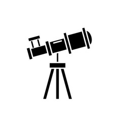 telescope black icon sign on isolated vector image