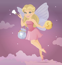 Tooth fairy with a magic wand vector