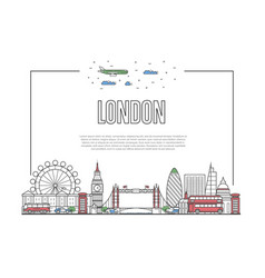 travel london poster in linear style vector image