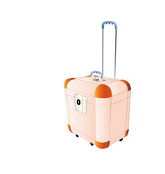 travel plastic suitcase peach color large with vector image