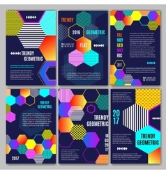 trendy geometric flat posters vector image