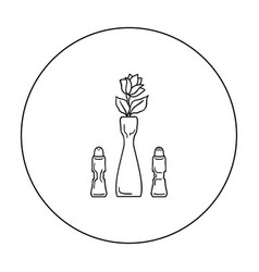 Vase with flower icon in outline style isolated on vector