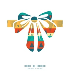 Vibrant ikat stripes gift bow silhouette pattern vector