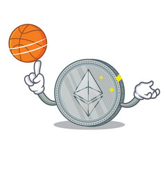 With basketball ethereum coin character cartoon vector