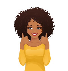 young woman showing thumb up vector image