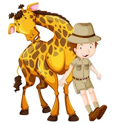 Zoologist and wild giraffe vector image
