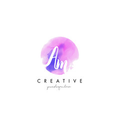 am watercolor letter logo design with purple vector image vector image