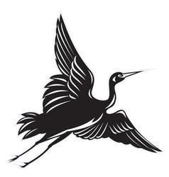 Crane flying done in retro woodcut vector