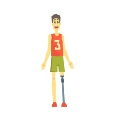 Guy In Sportive Outfit With Artificial Leg Young vector image