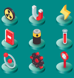 physics color isomeric icons vector image vector image