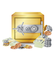 safe and money stacks safe coins and vector image vector image