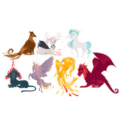 set of mythical mythological creates and animals vector image