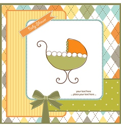 baby shower card with stroller vector image