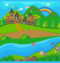background scene with brown castle by the river vector image vector image
