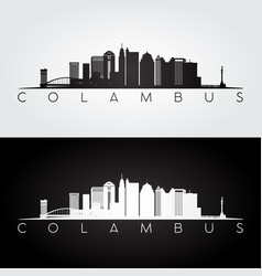 columbus usa skyline and landmarks silhouette vector image