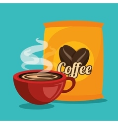 cup and bag coffee graphic vector image