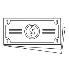 dollar cash icon outline style vector image