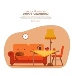 Living room cozy colorful cartoon interior vector image