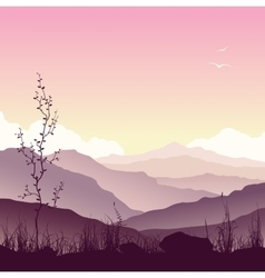 Mountain landscape with grass and tree vector image