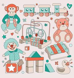 vintage children toys set vector image