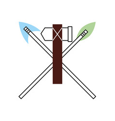 antique arrows and ax isolated icon vector image vector image