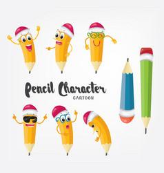 cartoon pencil character isolated emoji vector image vector image
