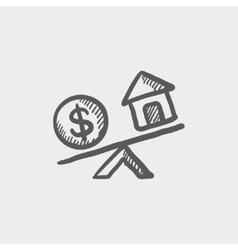 Compare or exchange home to money sketch icon vector image