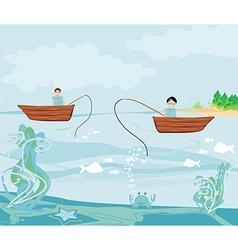 Fishermen and fishing boat vector