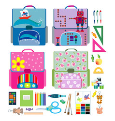 four school backpacks and school supplies vector image vector image