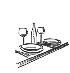 hand drawn wares romantic dinner for two wine vector image vector image