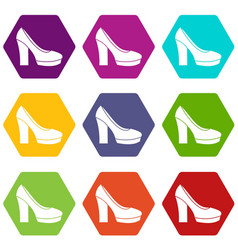 high heel shoes icon set color hexahedron vector image