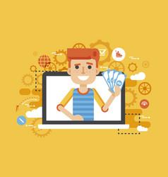 man money in hand online vector image vector image
