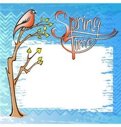 Springtime card with a bird vector image vector image