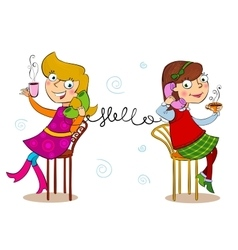 Two cartoon girls talking telephone vector image