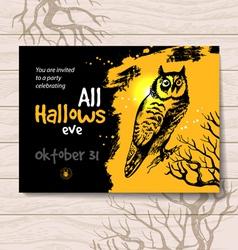 Vintage hand drawn Halloween invitation vector image