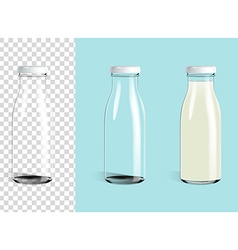Empty glass bottle and glass milk bottle vector image