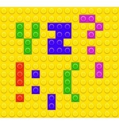 Lego blocks alphabet 5 vector image