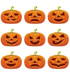 Pumpkins Set for Halloween vector image vector image