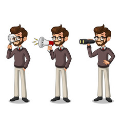 set of hipster businessman looking for poses vector image