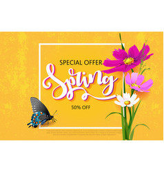 Spring sale background with beautiful colorful vector