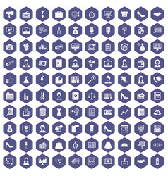 100 business woman icons hexagon purple vector