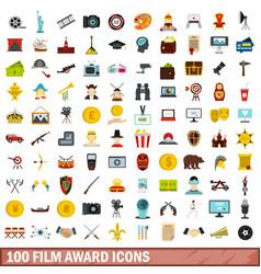 100 film award icons set flat style vector image
