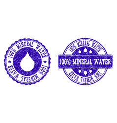 100 mineral water grunge stamp seals vector image