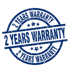 2 years warranty blue round grunge stamp vector image