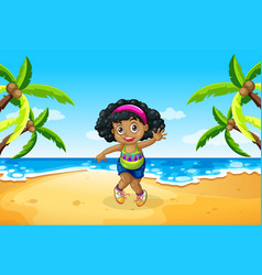 A chubby girl at beach vector