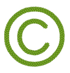 A Four Leaf Clover of Copyright Sign vector image